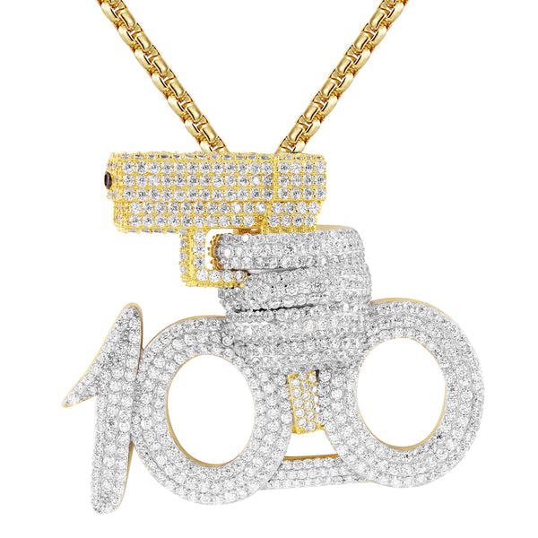 Silver 100 emoji with Gun Rich Shooter  Pendant Chain