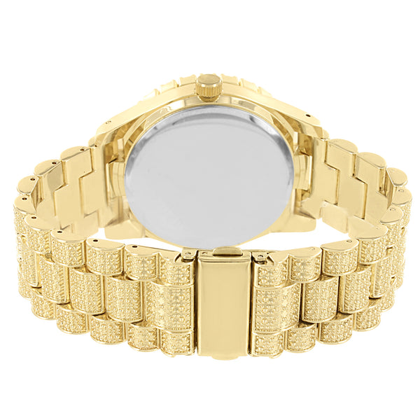 Men's Gold Tone Mason Style Solitaire Bezel Iced Out Watch