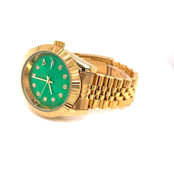 Fluted Bezel Green Dial Gold Tone Stainless Steel Rapper Watch