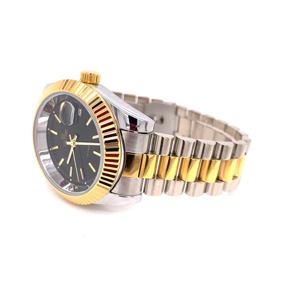 Steel 41 MM Black Round Dial Fluted Bezel Two Tone Watch