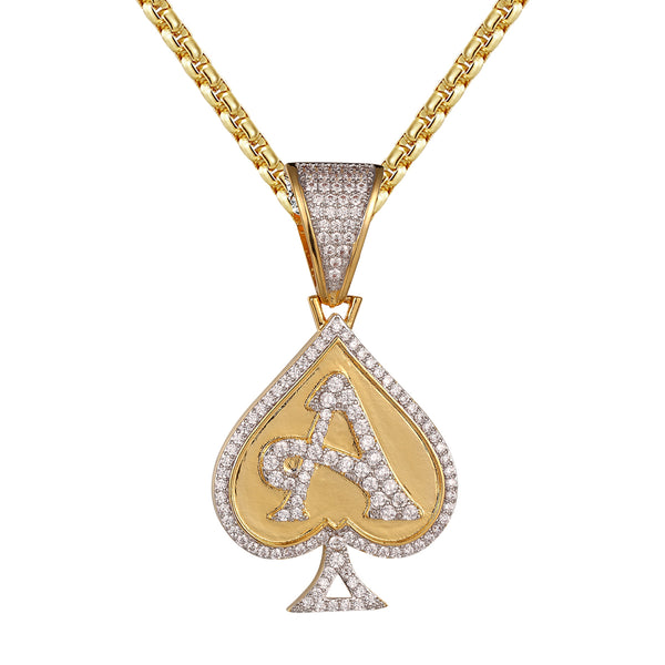 Ace Of Spade Playing Cards Bling Designer Pendant Necklace