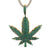 Mens Marijuana Green Weed Leaf Charm Gold Finish Bling Pendant