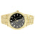Gold Tone Men's Black Face Fluted Bezel Metal Link Watch