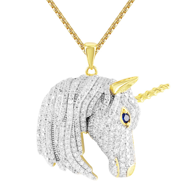 Mens's  Unicorn Gold Finish Custom Hip Hop Silver Pendant