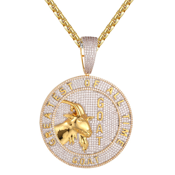 Mens Goat Face Greatest of All Time Circle Medallion Pendant