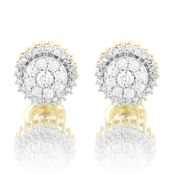 Real Round Cut Diamonds Micro Pave 10k Gold 8MM Studs