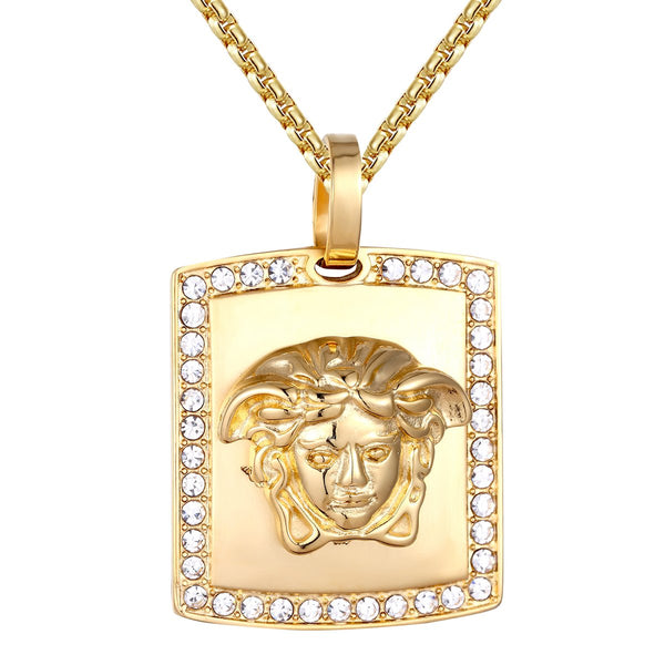 Steel Medusa Head Dog Tag Bling Gold Tone Pendant