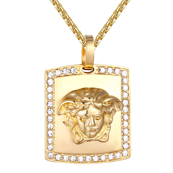Steel Medusa Head Dog Tag Iced Out Gold Tone Pendant