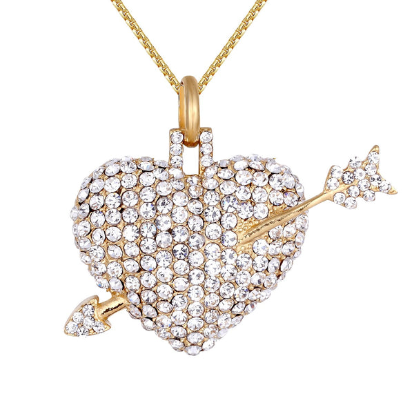 3D Heart Arrow Love struck Steel Pendant Chain