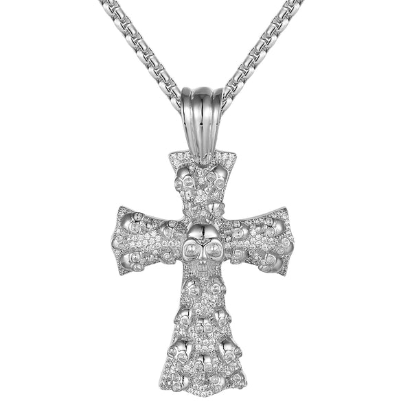Holy Jesus Religious Cross Skull Face Custom Mens Pendant Chain