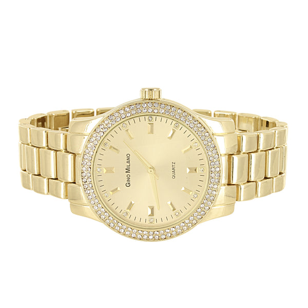 Men's Gold Finish Micro Pave Bezel Gold Face Metal Link Watch