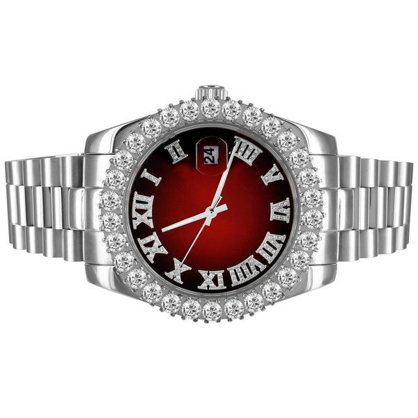 Stainless Steel Red Roman Dial Icy Bezel 41mm Custom Watch