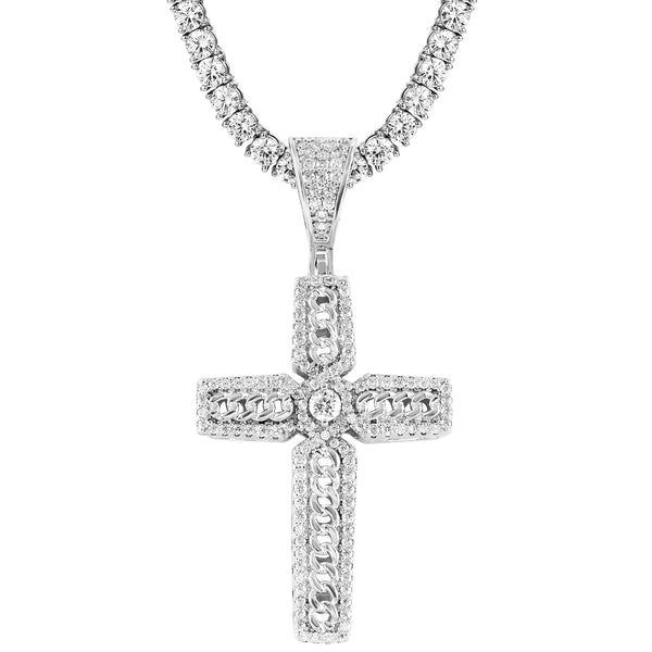 Men's Cuban Cross IcedOut Religious Pendant Tennis Chain