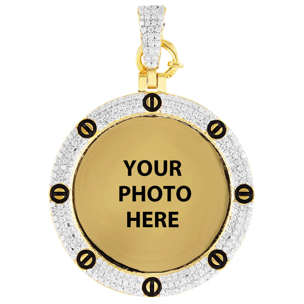10K Gold Picture Memory Screw Style Diamond Photo Pendant