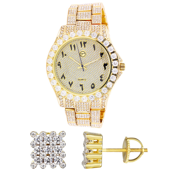Men's Arabic Dial Gold Finish  Watch Square Silver Earrings Combo
