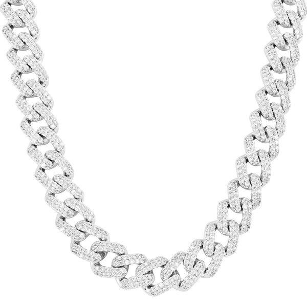 Sterling Silver 11mm Square Link Icy Miami Cuban Choker Necklace
