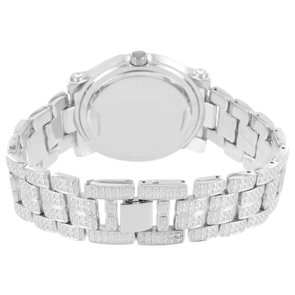 Men's Iced Out Mason Style Silver Finish Metal Link Watch