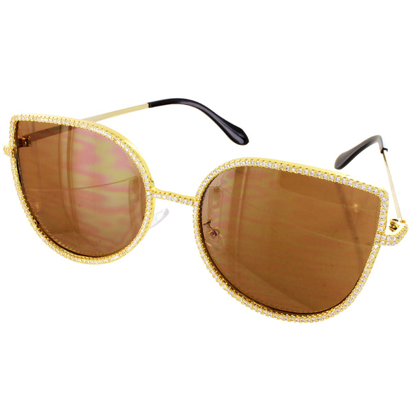 Brown Hip Hop Summer Shades Icy Designer Metal Sunglasses
