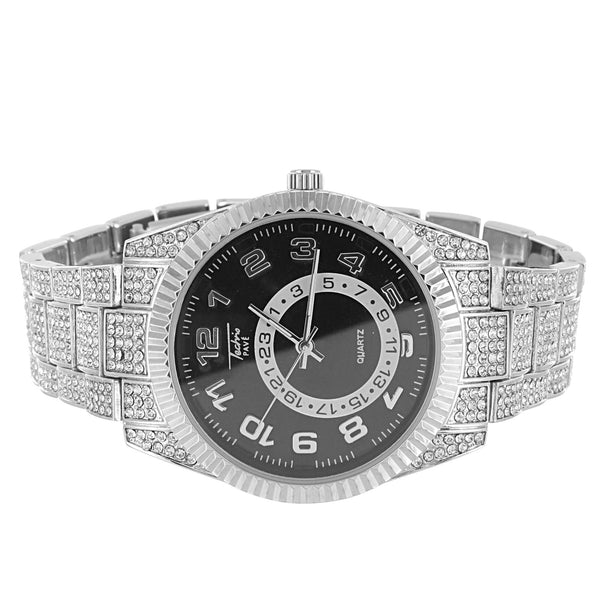 Men's Silver Tone  Techno Pave Fluted Bezel Metal Watch