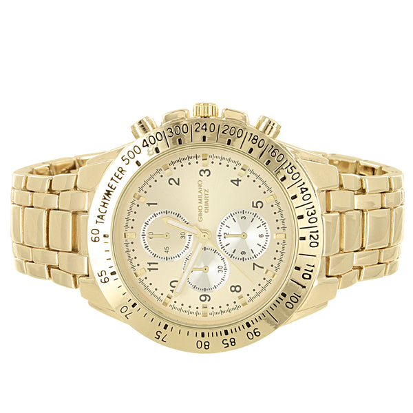 Men's Gold Tone Tachymeter Style Metal Link Watch