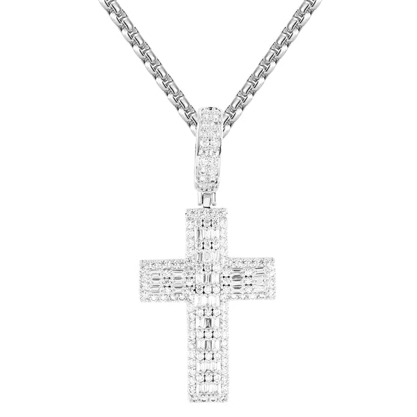 Baguette Holy Cross Religious God White Finish Silver Pendant