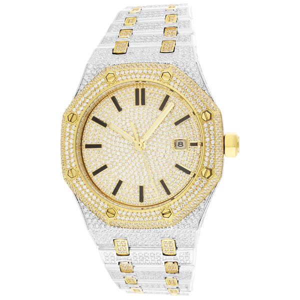 Men's Two-Tone Steel Luxury Face Gold Finish Iced Out Watch