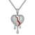 Silver Broken Dripping Heart Hip Hop Icy Red Enamel Charm