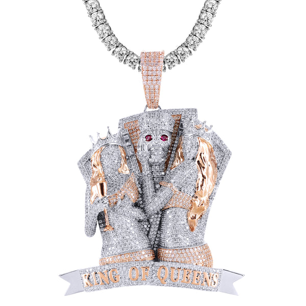 Icy King of Queens Skull Face Rose Gold Tone Pendant