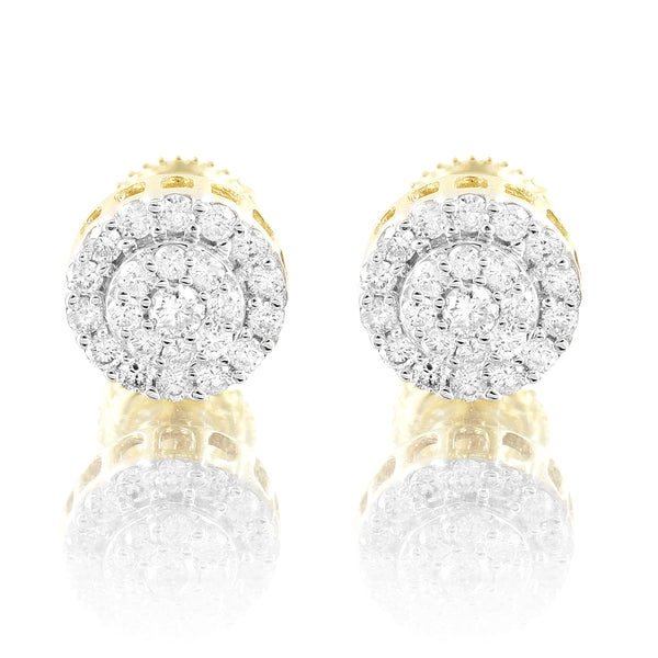 10k Gold Round Cluster Real Diamonds Screw Back Earrings