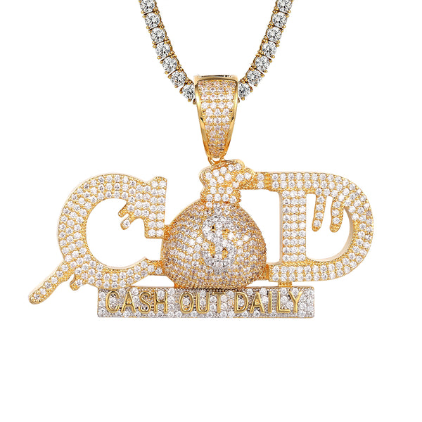 Money Dollar Bag Dripping Cash Out Daily COD Hip Hop Pendant
