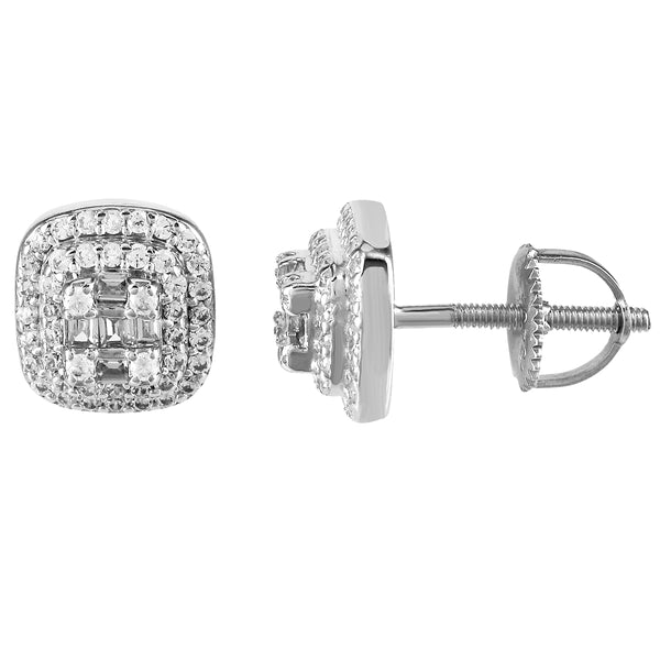Sterling Silver Solitaire Cluster Icy 3D Square Screw Back Earring