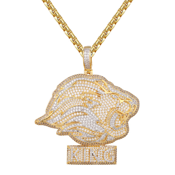 King Of Jungle Side View Roaring Lion Head Pendant