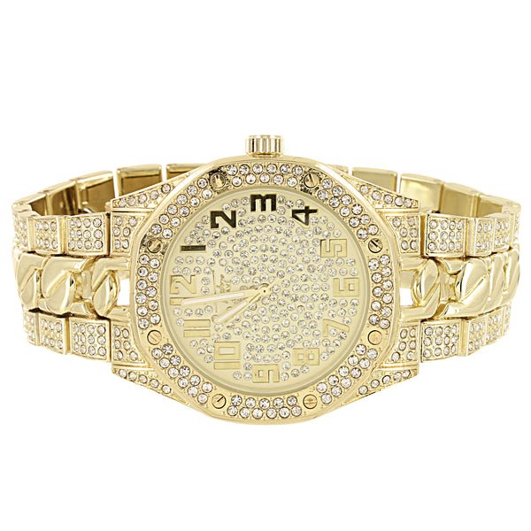 Men's Gold Tone Cuban Link Band Iced Out All Gold Face Watch