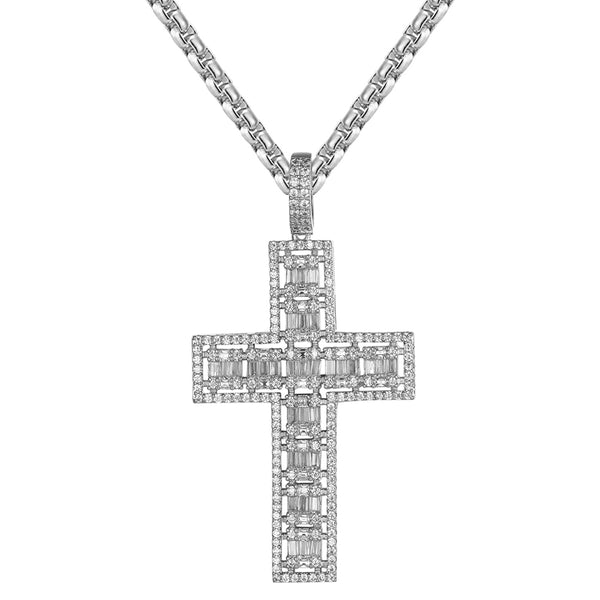 Holy Lord Cross Bling 2 Row Baguette Religious Pendant Chain