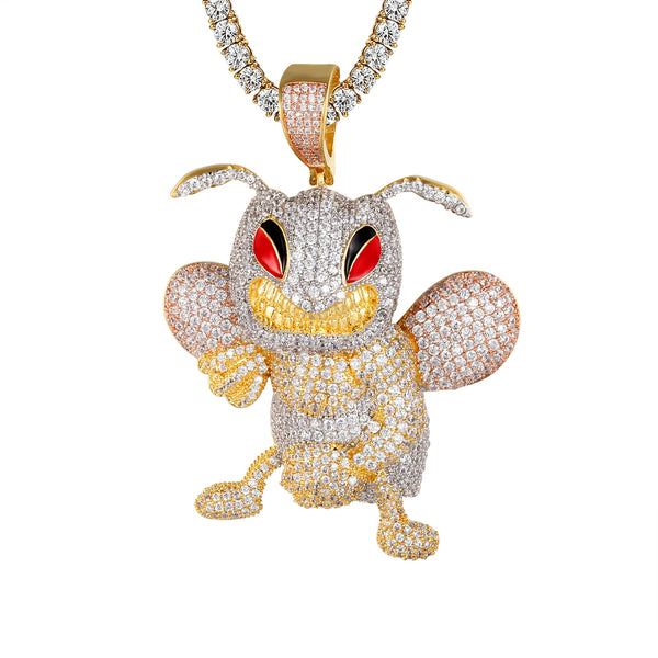 Mens Fighting Bee Character 925 Silver Bling Rapper Pendant