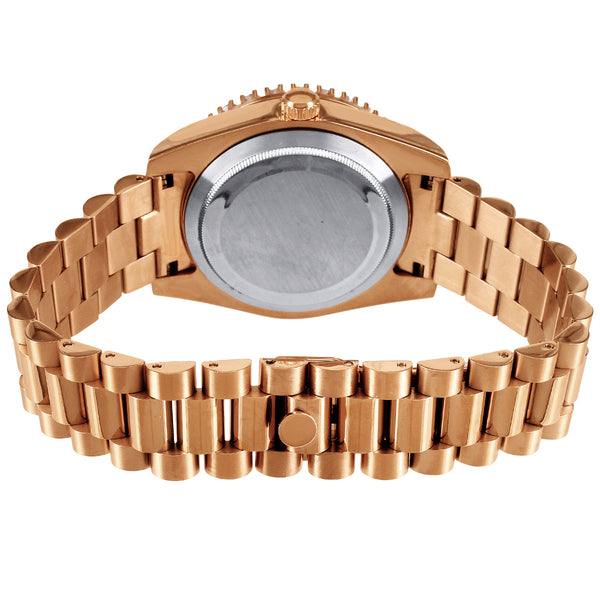 Rose Gold Tone 41mm Icy Chocolate Dial Steel Watch