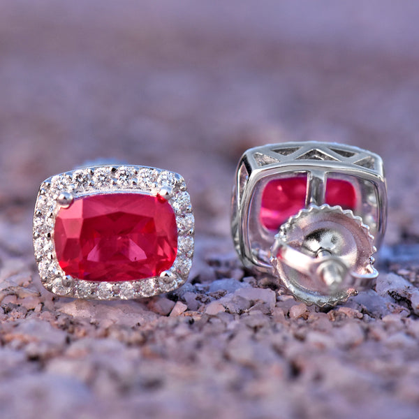Unisex Red Ruby Stone Square Earrings