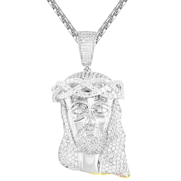 Mens Religious Jesus Face Micro Pave Crown Holy God Pendant