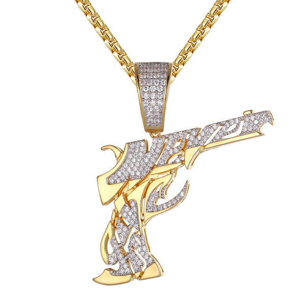 Mens Hip Hop Never Shoot Pistol Gun 14k Gold Finish Pendant
