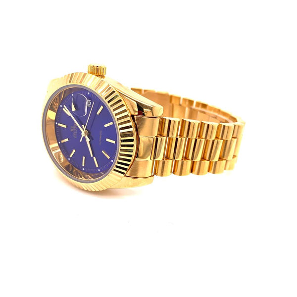 Mens Steel Blue Round Shape Dial 14k Gold Tone Custom Watch