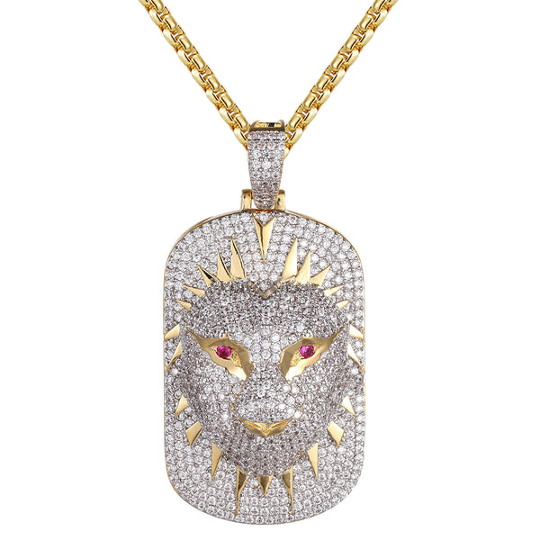 3D Panther Face Dog Tag Created Ruby Eyes Micro Pave Pendant