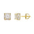 Men's Iced Out Solitaire Square Cube Custom Stud Earrings