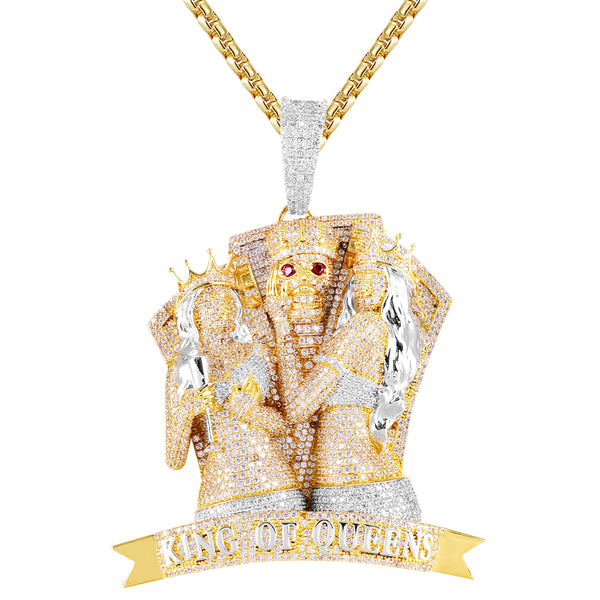 Custom King of Queens Crown Skull Face Gold Tone Pendant
