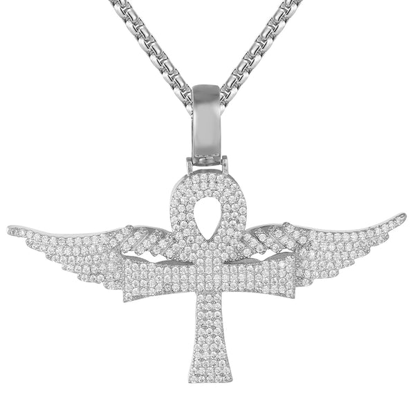 Icy Ankh Cross Symbol Flying Angel Wings Religious Pendant