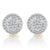 10K Gold Diamond Baguette Circle Screw Back Earrings