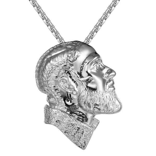 Rapper Face Head 14k White Tone Designer Pendant Chain