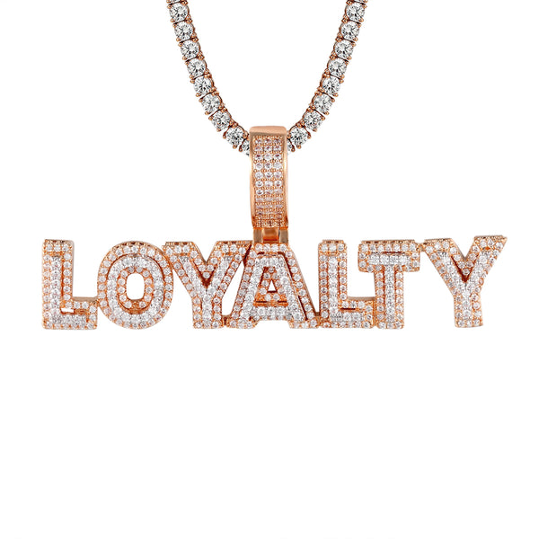 Mens Rose Gold Tone Loyalty Bling Rapper Sterling Silver Charm