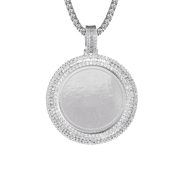 Round Circle Picture Frame Baguette Micro Pave Row Pendant