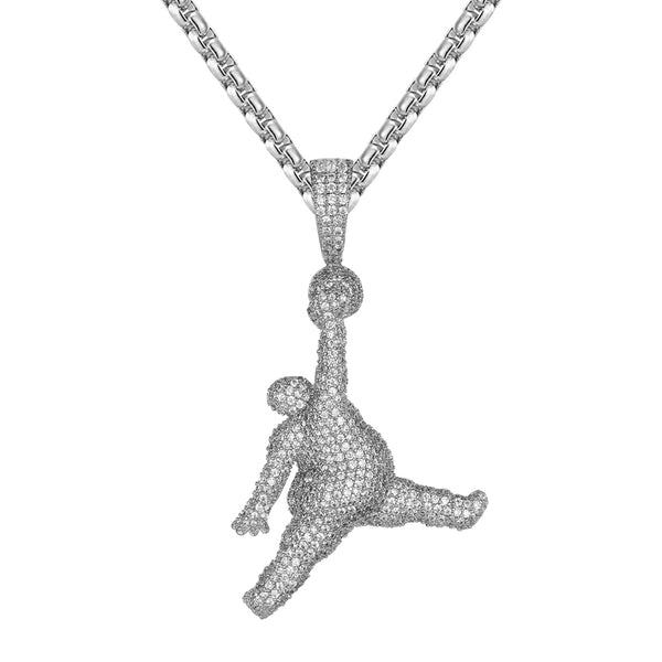 Mens Bling Basketball Player Jump Man Sports Pendant Chain