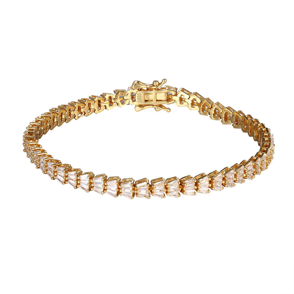 Womens Sterling Silver Baguette Gold Finish Custom Bracelet
